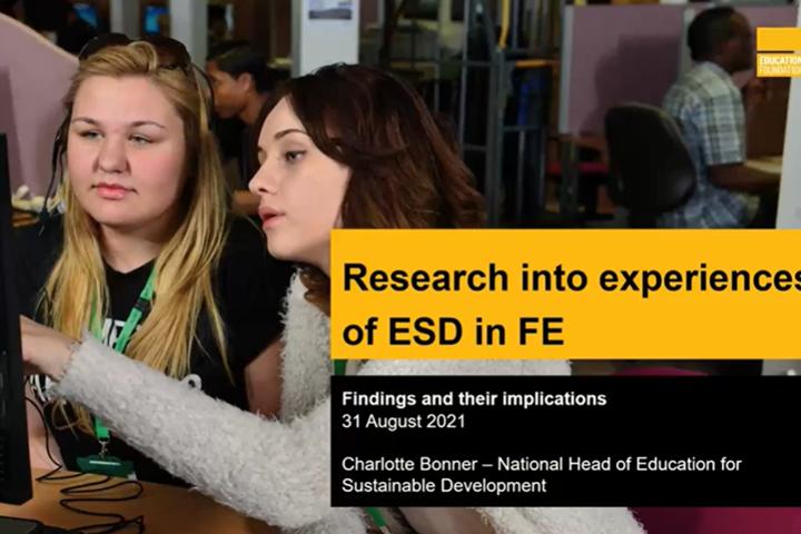 Education for Sustainable Development (ESDinFE) webinar cover slide