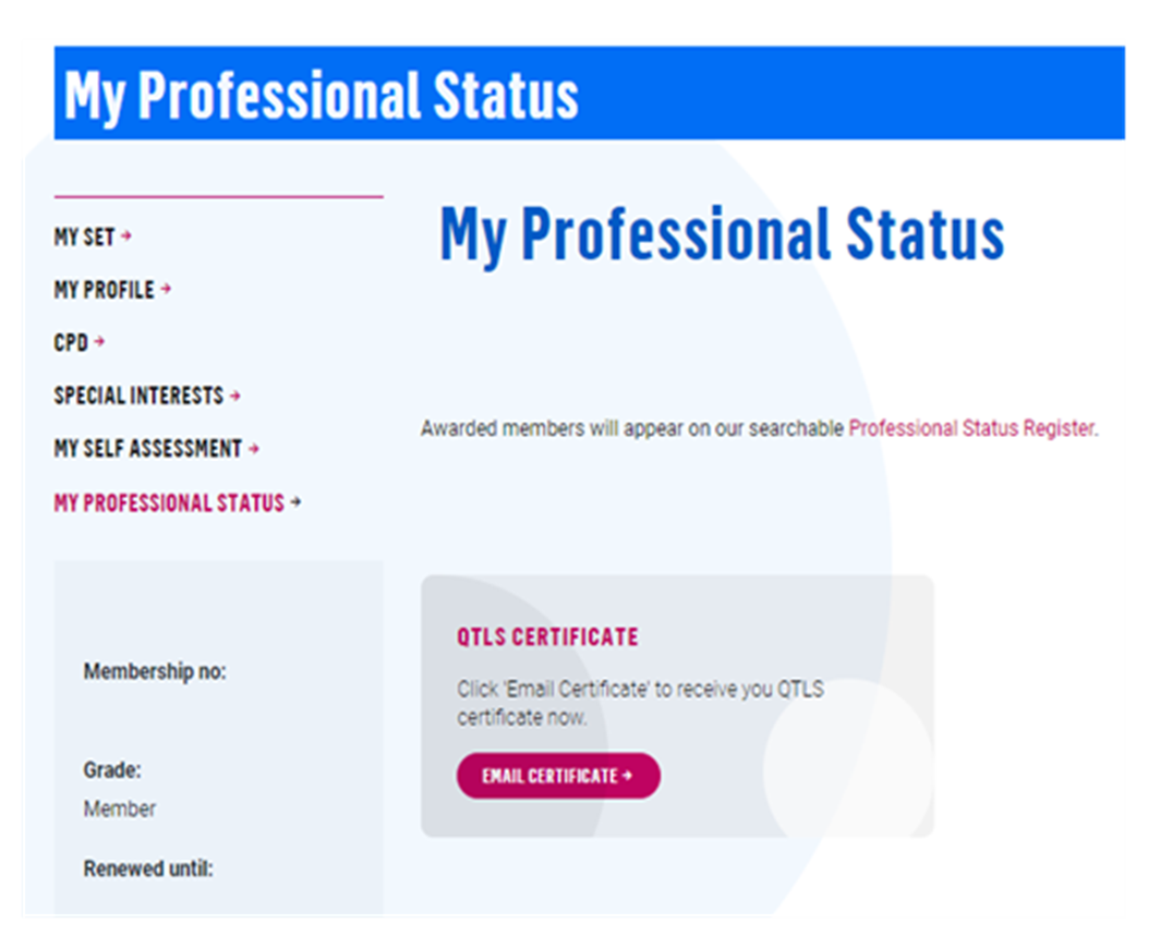 Image of certificate request in SET dashboard